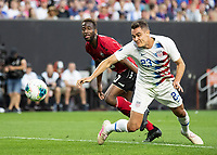 CLEVELAND, OH - JUNE 22: Aaron Long #23 heads the ball for the first USA goal during a game between the United States and Trinidad & Tobago at FirstEnergy Stadium on June 22, 2019 in Cleveland, Ohio.