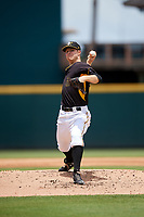 Bradenton Marauders starting pitcher James Marvel (12) delivers a pitch during the first game of a doubleheader against the Jupiter Hammerheads on May 27, 2018 at LECOM Park in Bradenton, Florida.  Bradenton defeated Jupiter 13-5.  (Mike Janes/Four Seam Images)
