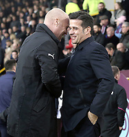 Burnley manager Sean Dyche (right) greets Everton manager Marco Silva ahead of kick-off<br /> <br /> Photographer Rich Linley/CameraSport<br /> <br /> The Premier League - Burnley v Everton - Wednesday 26th December 2018 - Turf Moor - Burnley<br /> <br /> World Copyright © 2018 CameraSport. All rights reserved. 43 Linden Ave. Countesthorpe. Leicester. England. LE8 5PG - Tel: +44 (0) 116 277 4147 - admin@camerasport.com - www.camerasport.com