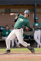 Devin Buckner (23) of the University of South Carolina Upstate Spartans Green team is hit by a pitch in the Green and Black Fall World Series Game 2 on Saturday, October 31, 2020, at Cleveland S. Harley Park in Spartanburg, South Carolina. Green won, 6-5. (Tom Priddy/Four Seam Images)