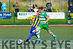 Lee Downing Killarney Celtic takes on Mark Slattery Fairview Rangers during their FAI cup clash in Celtic Park on Saturday evening