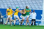 Brendan O'Leary, Kerry in action against Stephen Rooney, Antrim during the Joe McDonagh Cup Final match between Kerry and Antrim at Croke Park in Dublin.