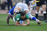 Jamison Gibson-Park  of Ireland  and Marco Riccioni of Italy<br /> Roma, Olimpico stadium, 27/02/2021.<br /> Italy vs Ireland <br /> Six Nations 2021 rugby trophy <br /> Photo Antonietta Baldassarre/ Insidefoto