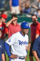 Ogden Raptors coach Angel Sanchez (33) before the game against the Orem Owlz in Pioneer League action at Lindquist Field on June 18, 2015 in Ogden, Utah.  This was Opening Night play of the 2015 Pioneer League season. (Stephen Smith/Four Seam Images)