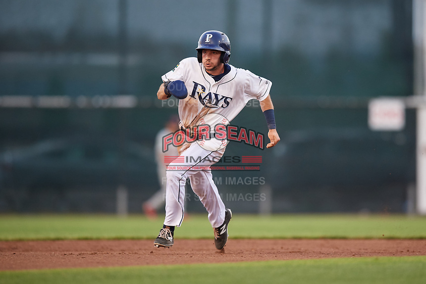 Princeton Rays third baseman Connor Hollis (39) runs the bases during the second game of a doubleheader against the Johnson City Cardinals on August 17, 2018 at Hunnicutt Field in Princeton, Virginia.  Princeton defeated Johnson City 12-1.  (Mike Janes/Four Seam Images)