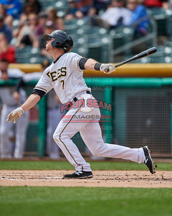 Matt Williams (7) of the Salt Lake Bees follows through on his swing against the El Paso Chihuahuas in Pacific Coast League action at Smith's Ballpark on April 30, 2017 in Salt Lake City, Utah. El Paso defeated Salt Lake 3-0. This was Game 1 of a double-header.  (Stephen Smith/Four Seam Images)