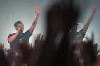 Die Hip-Hop-Gruppe Antilopen Gang aus Duesseldorf, Koeln und Berlin spielte am Samstag den 14. Maerz 2015 im ausverkauften Berliner Club SO36.<br /> Die Band besteht aus den Rappern Koljah Kolerikah, Panik Panzer (links) und Danger Dan (rechts) und steht beim Toten Hosen-Label JKP unter Vertrag.<br /> 14.3.2015, Berlin<br /> Copyright: Christian-Ditsch.de<br /> [Inhaltsveraendernde Manipulation des Fotos nur nach ausdruecklicher Genehmigung des Fotografen. Vereinbarungen ueber Abtretung von Persoenlichkeitsrechten/Model Release der abgebildeten Person/Personen liegen nicht vor. NO MODEL RELEASE! Nur fuer Redaktionelle Zwecke. Don't publish without copyright Christian-Ditsch.de, Veroeffentlichung nur mit Fotografennennung, sowie gegen Honorar, MwSt. und Beleg. Konto: I N G - D i B a, IBAN DE58500105175400192269, BIC INGDDEFFXXX, Kontakt: post@christian-ditsch.de<br /> Bei der Bearbeitung der Dateiinformationen darf die Urheberkennzeichnung in den EXIF- und  IPTC-Daten nicht entfernt werden, diese sind in digitalen Medien nach §95c UrhG rechtlich geschuetzt. Der Urhebervermerk wird gemaess §13 UrhG verlangt.]