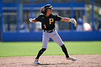 Pittsburgh Pirates Cole Tucker (3) throws to first base during a Major League Spring Training game against the Toronto Blue Jays on March 1, 2021 at TD Ballpark in Dunedin, Florida.  (Mike Janes/Four Seam Images)