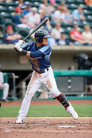Columbus Clippers shortstop Yu Chang (6) at bat during a game against the Gwinnett Stripers on May 17, 2018 at Huntington Park in Columbus, Ohio.  Gwinnett defeated Columbus 6-0.  (Mike Janes/Four Seam Images)