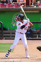 Wisconsin Timber Rattlers third baseman Yeison Coca (9) at bat during a game against the West Michigan Whitecaps on May 22, 2021 at Neuroscience Group Field at Fox Cities Stadium in Grand Chute, Wisconsin.  (Brad Krause/Four Seam Images)