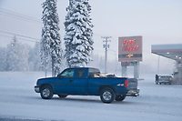 Vehicle traffic in Fairbanks, Alaska in minus 47 degree temperatures.