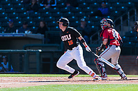 Oregon State Beavers first baseman Zak Taylor (16) follows through on his swing during a game against the Gonzaga Bulldogs on February 16, 2019 at Surprise Stadium in Surprise, Arizona. Oregon State defeated Gonzaga 9-3. (Zachary Lucy/Four Seam Images)