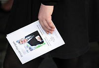 """Pictured: The order of service. Wednesday 31 May 2017<br /> Re: The funeral for former first minister Rhodri Morgan has taken place in the Senedd in Cardiff Bay.<br /> The ceremony, which was open to the public, was conducted by humanist celebrant Lorraine Barrett.<br /> She said the event was """"a celebration of his life through words, poetry and music"""".<br /> Mr Morgan, who died earlier in May aged 77, served as the Welsh Assembly's first minister from 2000 to 2009.<br /> He was credited with bringing stability to the fledgling assembly during his years in charge.<br /> It is understood Mr Morgan had been out cycling near his home when he died."""