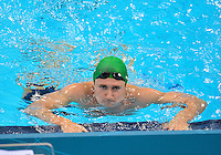 July 28, 2012: Cameron van der Burgh of South Africa exits the pool after competing in Men's 100 meter Butterfly semifinal event at the Aquatics Center on day one of 2012 Olympic Games in London, United Kingdom.