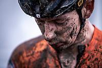 Lars van der Haar (NED) post race mud face<br /> <br /> Men's Elite race<br /> UCI 2020 Cyclocross World Championships<br /> Dübendorf / Switzerland<br /> <br /> ©kramon