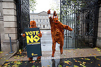 NO REPRO FEE. 24/10/2011. VOTE NO TO 30TH AMENDMENT. Protesters in Kangaroo outfits (keeping with the 'Kangaroo courts' theme of the campaign) are pictured outside Leinster House on Kildare Street Dublin handing out referendum leaflets. learn more at www.kangaroocourts.net. for more information please contact Walter Jayawardene.Irish Council for Civil Liberties.Tel. + 353 1 799 4503 Mob: +353 87 9981574E-mail walter.jayawardene@iccl.iePicture James Horan/Collins Photos