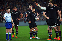 All Blacks captain Sam Whitelock calls for a penalty kick at goal during the Bledisloe Cup rugby match between the New Zealand All Blacks and Australia Wallabies at Eden Park in Auckland, New Zealand on Saturday, 7 August 2021. Photo: Dave Lintott / lintottphoto.co.nz