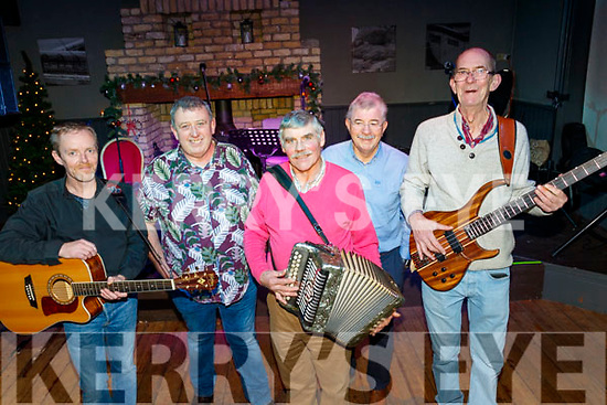 Musicians L-R Mick Kerins, Willie Kelly, Peter Tighe, Con Murphy and John Cussack provided the sounds  for 'A Ballad and Folk Night' in the Ashe hotel, Tralee in aid of Tralee Community Responders and Comfort for Chemo Kerry in the Ashe hotel, Tralee last Friday night.