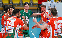 Dutch libero Just Dronkers of Maaseik pictured celebrating with teammates during a Volleyball game between Knack Volley Roeselare and Greenyard Maaseik , the third game in a best of five in the play offs in the 2020-2021 season , saturday 10 th April 2020 at the Schiervelde international Sportshall in Roeselare  , Belgium  .  PHOTO SPORTPIX.BE   DAVID CATRY