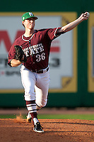 Mississippi State starting pitcher Nick Routt #36 warms up before the  NCAA baseball game against the LSU Tigers on March 17, 2012 at Alex Box Stadium in Baton Rouge, Louisiana. The 10th-ranked LSU Tigers beat #21 Mississippi State, 4-3. (Andrew Woolley / Four Seam Images).