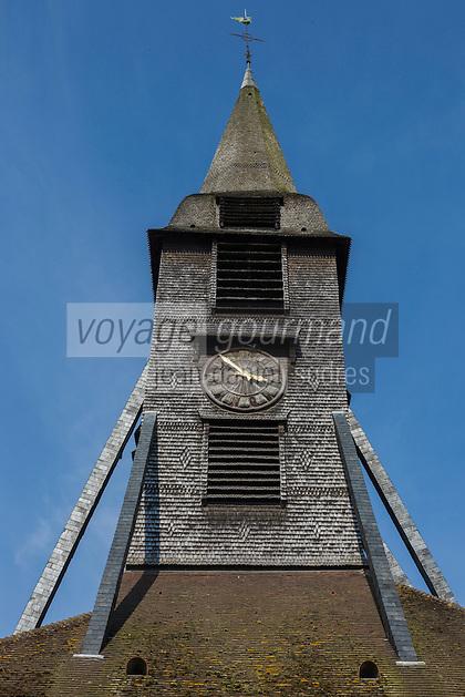 France, Calvados (14), Côte Fleurie, Honfleur,  Clocher de l'église Sainte-Catherine de Honfleur. //   France, Calvados, Côte Fleurie, Honfleur, Saint-Catherine's Church spire
