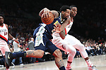 Denver Nuggets forward Wilson Chandler (21) shields the ball away from Portland Trail Blazers forward Maurice Harkless (4) in the first half at Moda Center.<br /> Photo by Jaime Valdez