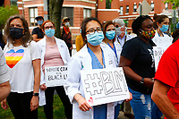 Protestors part of 'Allies of Black Lives' marched from Friendship through Shadyside to Point Breeze and ended near the home Mayor Bill Peduto on Friday June 5, 2020 in Pittsburgh, Pennsylvania. (Photo by Jared Wickerham/Pittsburgh City Paper)