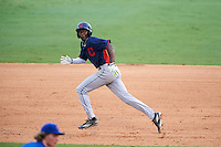 Grant Bodison (15) of Mauldin High School in Simpsonville, South Carolina playing for the Cleveland Indians scout team during the East Coast Pro Showcase on July 29, 2015 at George M. Steinbrenner Field in Tampa, Florida.  (Mike Janes/Four Seam Images)