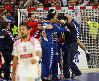 Serbian players celebrate victory after men`s EHF EURO 2012 championship semifinal handball game against Croatia in Belgrade, Serbia, Friday, January 27, 2011.  (photo: Pedja Milosavljevic / thepedja@gmail.com / +381641260959)