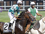 Media Madness, Jeremy Rose up, joins in post parade before finishing sixth in the Grade III Robert G. Dick Memorial Stakes at Delaware Park. Trainer is Graham Motion. Stanton, DE, July 9, 2011. (Joan Fairman Kanes/Eclipsesportswire)