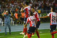 BARRANQUIILLA - COLOMBIA, 29-11-2018:Teofilo Gutierrez de Junior celebra después de anotar el primer gol de su equipo al Santa Fe durante el encuentro entre Atlético Junior de Colombia e Independiente Santa Fe de Colombia por la semifinal, vuelta, de la Copa CONMEBOL Sudamericana 2018 jugado en el estadio Roberto Meléndez de la ciudad de Barranquilla. / Teofilo Gutierrez of Junior celebrates after scoring the first goal of his team to Santa Fe during a semifinal second leg match between Atletico Junior of Colombia and Independiente Santa Fe of Colombia as a part of Copa CONMEBOL Sudamericana 2018 played at Roberto Melendez stadium in Barranquilla city Atletico Junior de Colombia e Independiente Santa Fe de Colombia en partido por la semifinal, vuelta, de la Copa CONMEBOL Sudamericana 2018 jugado en el estadio Roberto Meléndez de la ciudad de Barranquilla. / Atletico Junior of Colombia and Independiente Santa Fe of Colombia in Semifinal second leg match as a part of Copa CONMEBOL Sudamericana 2018 played at Roberto Melendez stadium in Barranquilla city.  Photo: VizzorImage/ Alfonso Cervantes / Cont