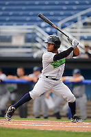 Jamestown Jammers outfielder Elvis Escobar #5 at bat during a game against the Batavia Muckdogs on June 27, 2013 at Dwyer Stadium in Batavia, New York.  The game was postponed in the 4th inning due to rain.  (Mike Janes/Four Seam Images)