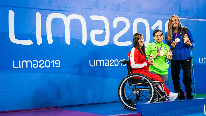 Krystal Shaw, Lima 2019 - Para Swimming // Paranatation.<br /> Krystal Shaw takes the silver in the 50m freestyle S7 // Krystal Shaw a gagne l'argent en 50 m libre S7. 28/08/19.
