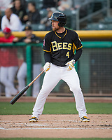 Nolan Fontana (4) of the Salt Lake Bees at bat against the Sacramento River Cats in Pacific Coast League action at Smith's Ballpark on April 13, 2017 in Salt Lake City, Utah.  Salt Lake defeated Sacramento 4-3. (Stephen Smith/Four Seam Images)