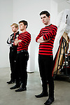 "July 29, 2005. New York , NY.. (Left to right) Bob Hardy, Nick McCarthy and Paul Thomson waits for the filming to begin..Behind the scenes with Franz Ferdinand during the  filming of the music video "" Do You Want To"" in  Manhattan."
