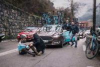 Axel Domont (FRA/AG2R-La Mondiale) crashed<br /> <br /> 76th Paris-Nice 2018<br /> Stage 7: Nice > Valdeblore La Colmiane (175km)