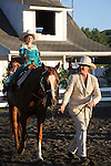 Young boy riding in horse show at Cheshire Fair in Swanzey, New Hampshire USA
