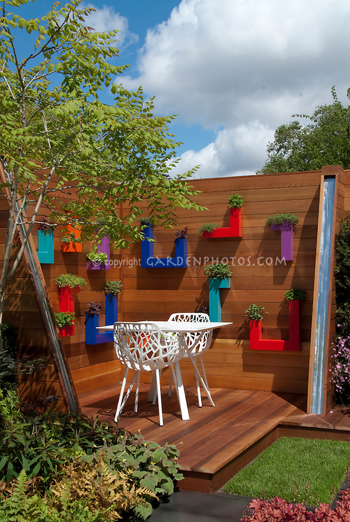 Modern deck design with herb containers