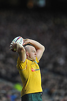 Stephen Moore of Australia throws into the lineout during the Old Mutual Wealth Series match between England and Australia at Twickenham Stadium on Saturday 3rd December 2016 (Photo by Rob Munro)