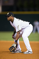 Charlotte Knights first baseman Dayan Viciedo (41) on defense against the Rochester Red Wings at BB&T BallPark on August 8, 2015 in Charlotte, North Carolina.  The Red Wings defeated the Knights 3-0.  (Brian Westerholt/Four Seam Images)