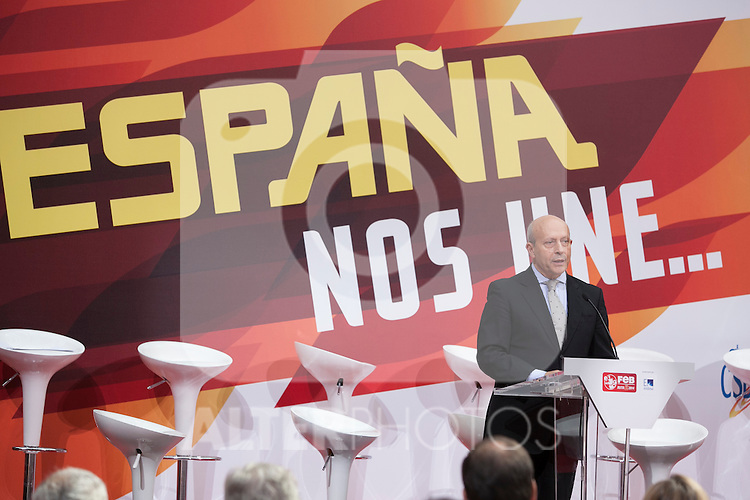 Minister Ignacio Wert during the official presentation of Spain´s basketball team for the 2014 Spain Basketball Championship in Madrid, Spain. July 24, 2014. (ALTERPHOTOS/Victor Blanco)