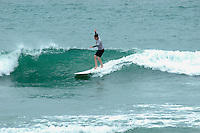 Saturday, June 14, 2008, Tourmaline Surf Park, Pacific Beach, San Diego, CA, USA.  Winnie Riley competes during the womens final of the Pacific Beach Surf Club's Tenth Annual Longboard Classic at Tourmaline Surfing Park.  The event was well attended despite gray, June gloom clouds and fickle, windy surf conditions.
