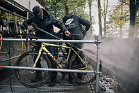 the pit's cleaning station<br /> <br /> Women's race<br /> Superprestige Gavere / Belgium 2017