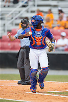 Kingsport Mets catcher Darryl Knight (22) starts back to the dugout following the third out of an inning against the Greeneville Astros at Hunter Wright Stadium on July 7, 2015 in Kingsport, Tennessee.  The Mets defeated the Astros 6-4. (Brian Westerholt/Four Seam Images)