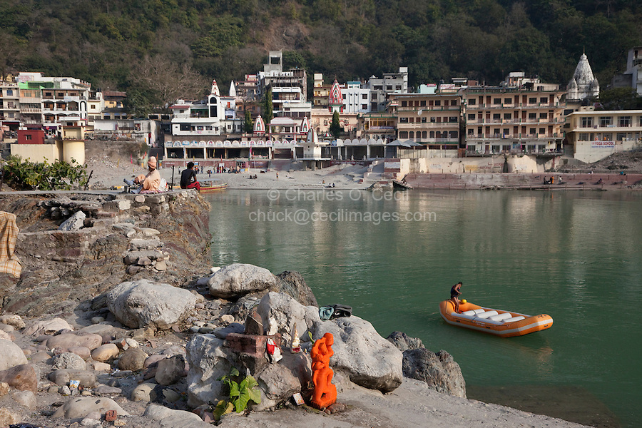 India, Rishikesh.  Temples and Guest Houses on the North Bank of the Ganges (Ganga).