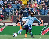 Foxborough, Massachusetts - March 24, 2018: First half action. In a Major League Soccer (MLS) match, New England Revolution (blue/white) vs New York City FC (NYCFC) (light blue/blue), at Gillette Stadium.