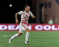 FOXBOROUGH, MA - AUGUST 21: Emiliano Terzaghi #32 of Richmond Kickers during a game between Richmond Kickers and New England Revolution II at Gillette Stadium on August 21, 2020 in Foxborough, Massachusetts.