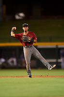 AZL D-backs shortstop Jose Curpa (3) throws to first base during an Arizona League game against the AZL Cubs 1 on July 25, 2019 at Sloan Park in Mesa, Arizona. The AZL D-backs defeated the AZL Cubs 1 3-2. (Zachary Lucy/Four Seam Images)
