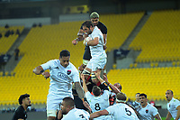 Sam Whitelock wins lineout ball under pressure from Hoskins Sotutu during the rugby match between North and South at Sky Stadium in Wellington, New Zealand on Saturday, 5 September 2020. Photo: Dave Lintott / lintottphoto.co.nz