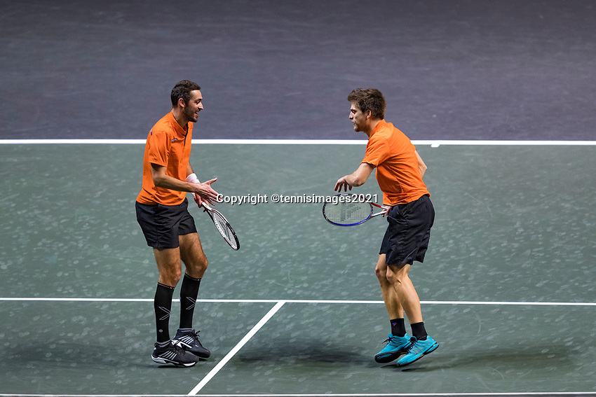 Rotterdam, The Netherlands, 28 Februari 2021, ABNAMRO World Tennis Tournament, Ahoy, First round doubles: Sander Arends (NED) / David Pel (NED)<br /> Photo: www.tennisimages.com/henkkoster